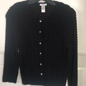 Cache Black Sweater Cardigan w/ Diamond Buttons-M